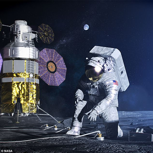 Artist's impression of rock collection on the Moon. NASA now wants to pay companies to designs robots to collect dirt and have it ready for collection by a future mission