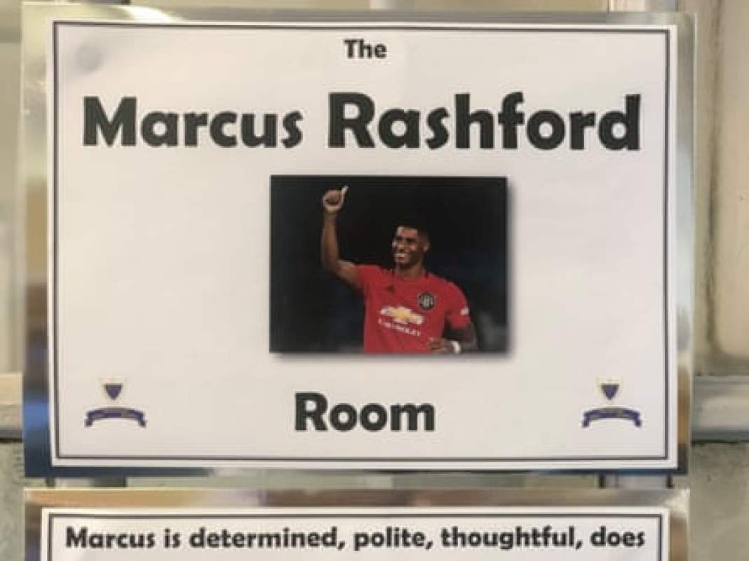 The sign over the room named after Marcus Rashford at Anderton Park school