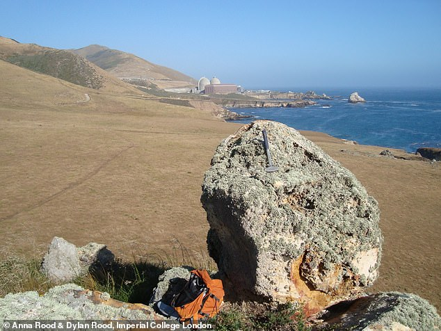 This image shows a precariously balanced rock preserved on a tectonically uplifted marine terrace near the Diablo Canyon nuclear Power Plant in coastal Central California