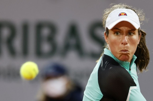 Britain's Johanna Konta plays eyes the ball as she returns the ball to Cori Gauff of the US  during their women's singles first round tennis match on Day 1 of The Roland Garros 2020 French Open tennis tournament in Paris on September 27, 2020.