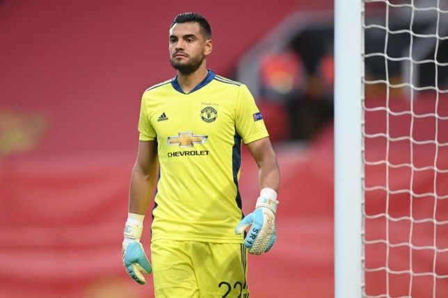 Sergio Romero of Manchester United in action during the UEFA Europa League round of 16 second leg match between Manchester United and LASK at Old Trafford on August 05, 2020 in Manchester, England.
