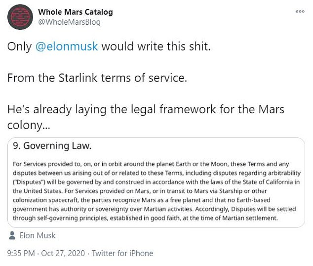 Elon Musk's SpaceX says they will not recognize Earth laws in planned Mars colony