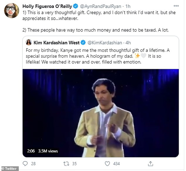 Creepy:One Twitter user admitted that the Robert Kardashian hologram was 'a very thoughtful gift,' but that they, personally, found it 'creepy'