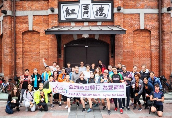 International bikers gather in front of Ximen Red House on Saturday, Oct. 24. (Facebook,Asia Rainbow Ride photo)