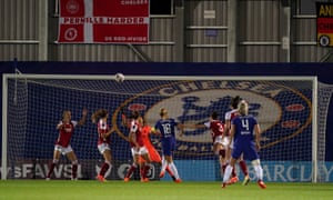 Magdalena Eriksson (centre) opens the scoring for Chelsea.