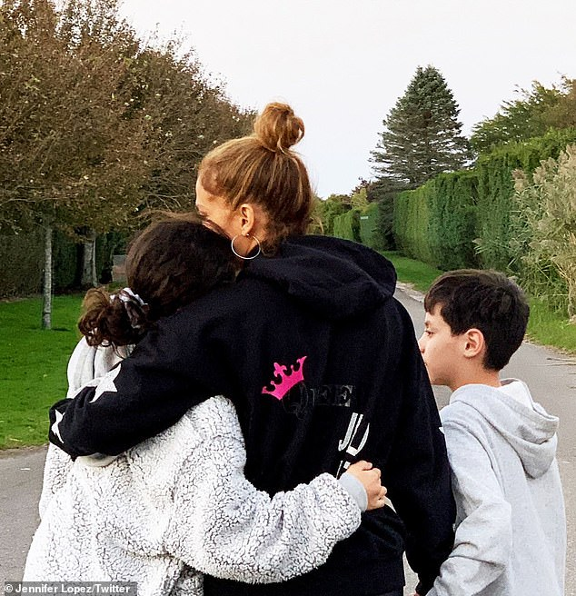 Family matters: Two-time Grammy nominee Jennifer Lopez kicked off the autumn season on Sunday by bonding with her fraternal twins Emme & Max Muñiz from her third marriage to singer Marc Anthony, which ended in 2014