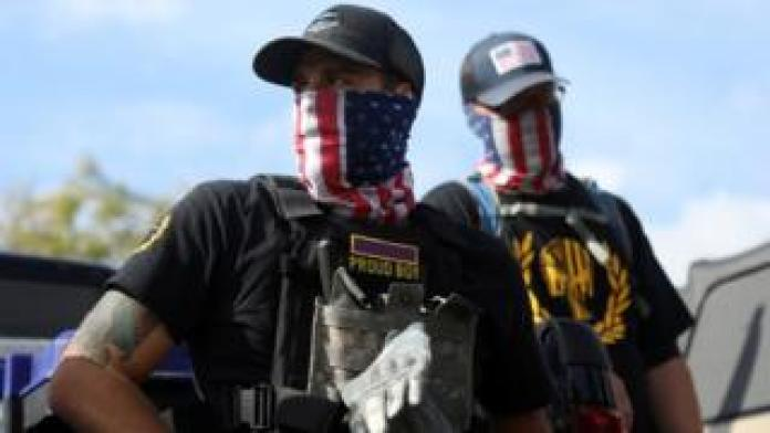 Members of the far-right group Proud Boys attend a rally in Portland, Oregon, U.S. September 26, 2020