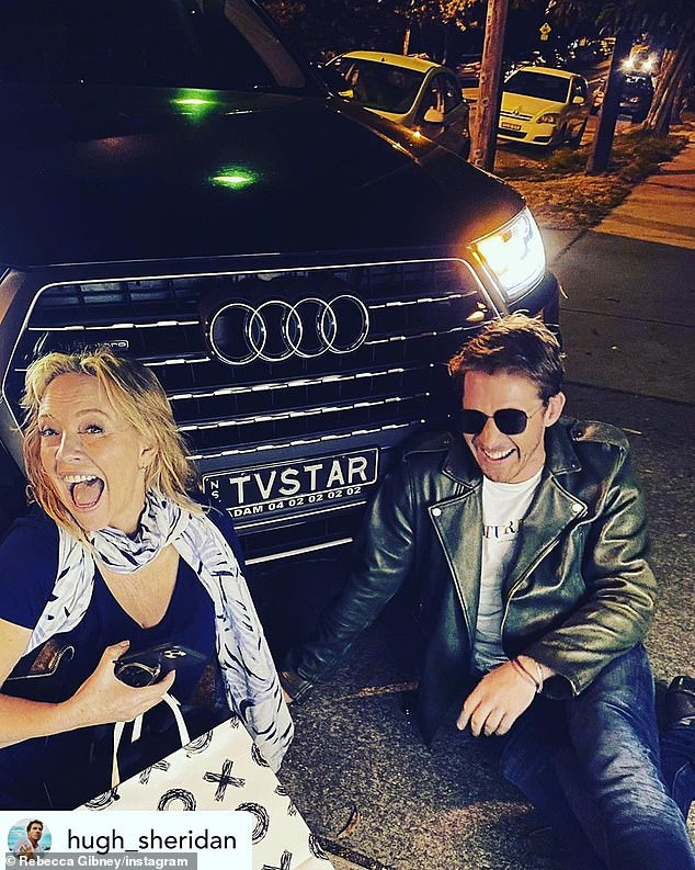 What are the chances? The moment Rebecca Gibney (left), 55, randomly ordered an Uber with the number plate 'TV STAR', on a night out with Hugh Sheridan (right), 35, on Saturday