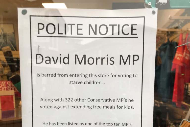 Tory MP David Morris banned from shop for life after voting against extension of free school meals