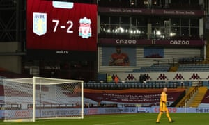 FBL-ENG-PR-ASTON VILLA-LIVERPOOL<br>Liverpool's Spanish goalkeeper Adrian in his goal area under the scoreboard displaying the 7-2 scoreline during the English Premier League football match between Aston Villa and Liverpool at Villa Park in Birmingham, central England on October 4, 2020. (Photo by PETER POWELL / POOL / AFP) / RESTRICTED TO EDITORIAL USE. No use with unauthorized audio, video, data, fixture lists, club/league logos or 'live' services. Online in-match use limited to 120 images. An additional 40 images may be used in extra time. No video emulation. Social media in-match use limited to 120 images. An additional 40 images may be used in extra time. No use in betting publications, games or single club/league/player publications. /  (Photo by PETER POWELL/POOL/AFP via Getty Images)