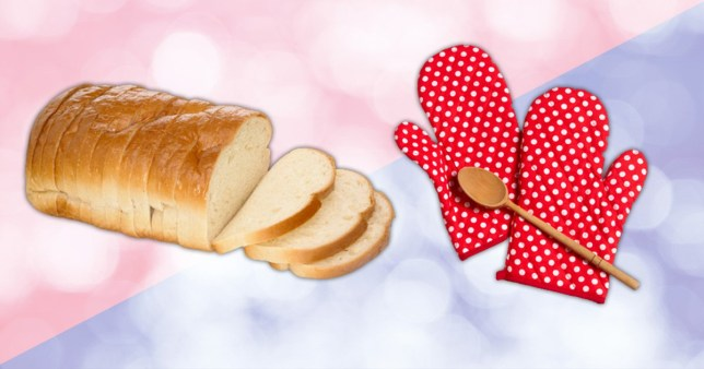 making bread baking - loaf of bread wth oven gloves