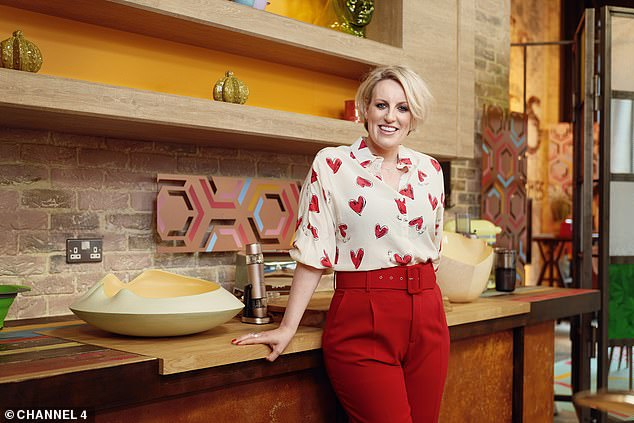 Getting started: The show, which is filmed from a studio in Leeds, didn't have any viewers at 12.56pm on one September day, according to Barb rating figures (Steph is pictured on the set of her show)
