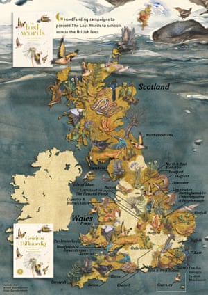 Map showing successful crowdfunding campaigns to donate copies of The Lost Words to schools, using illustrations by Jackie Morris