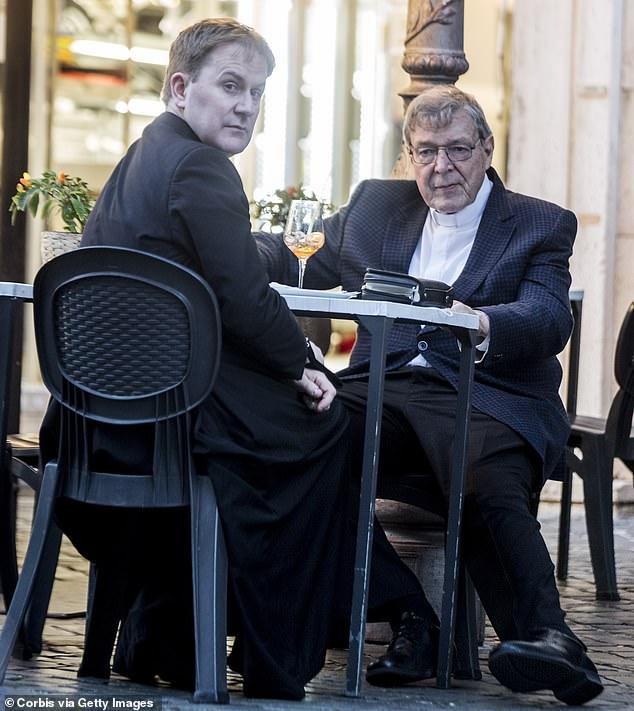 Cardinal George Pell is seen having dinner on October 4 in Vatican City