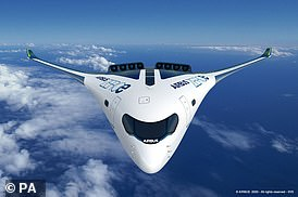 The hydrogen-fuelled aircraft could enter service by 2035. Pictured, a concept image of the bizarre looking blended-wing body