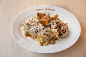 The sausage pasta at Maison Francois, London.