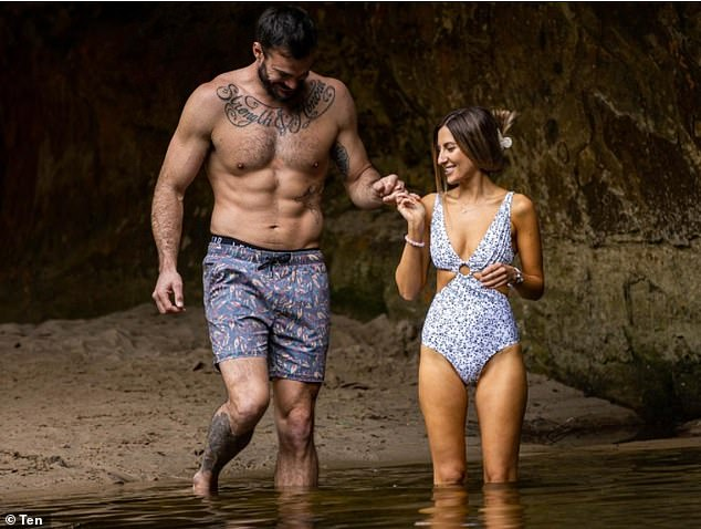 Déjà vu: On Sunday, Locky revealed they had 'randomly' ended up at the same swimming hole in Wollombi where they'd shared a passionate date on the show (pictured)