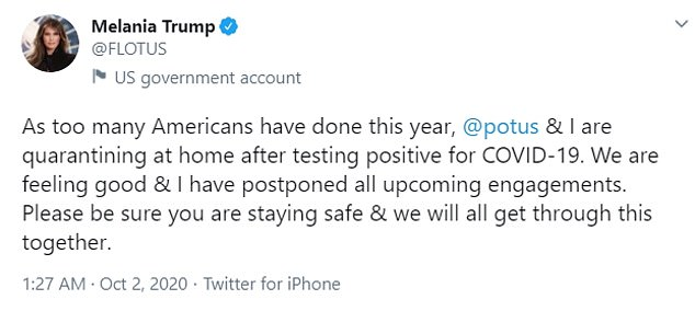 Melania also tweeted to confirm the news