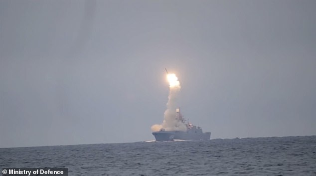 The Zircon missile blasts out of theAdmiral Gorshkov frigate in the White Sea today