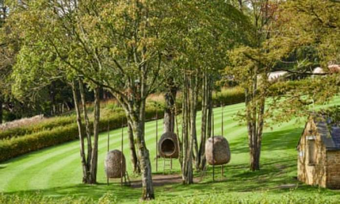 Woven 'nests' to relax in at the Newt in Somerset.