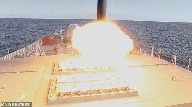 The missile is fired out of a hatch in the upper deck of the Russian frigate