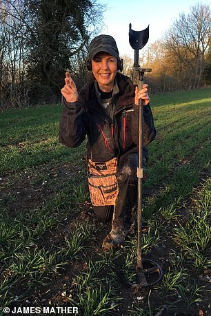 The pagan burial site had remained undiscovered for more than 1,400 years until it was found by Sue Washington (pictured)) and Mich Washington using metal detection equipment in 2018