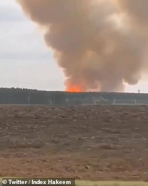The fire seen from a car