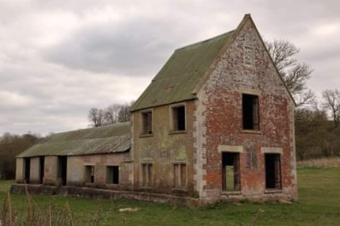 Derelict building, Imber, Salisbury Plain, Wiltshire, England, UK