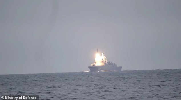 The Zircon missile blasts out of the Russian frigate on Wednesday