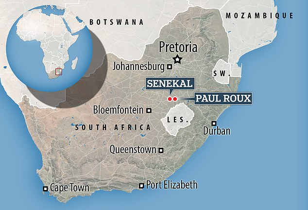More than 3,000 have descended on Senekal, a small town in eastern Free State which is around 20 miles from Paul Roux where Horner was found dead on Saturday morning
