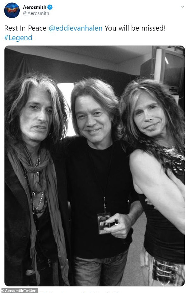 A tweet from Aerosmith's account read 'Rest In Peace,' with a shot of Steven Tyler and Joe Perry with Van Halen
