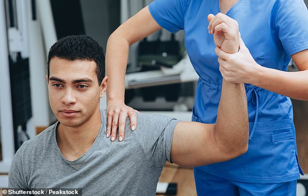 Frozen shoulder, or adhesive capsulitis, affects about one in ten Britons, mostly those over 40, and is twice as likely in those with type 2 diabetes (stock photo)