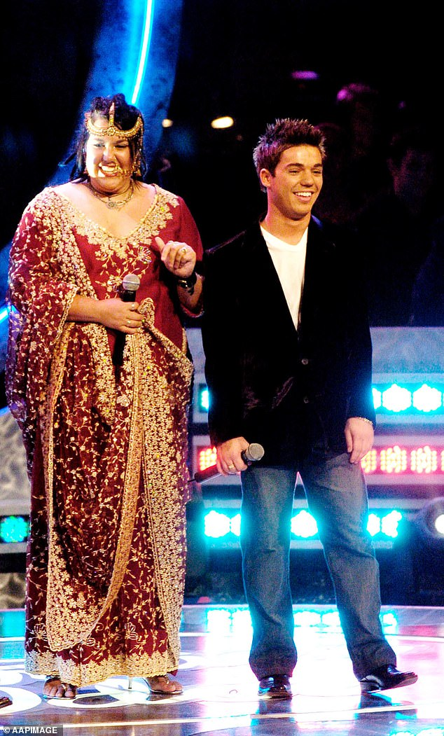 In a terrifying twist, Anthony said an audience member jumped from a balcony onto the stage during the grand final, but was quickly tackled and arrested by security. Pictured with Casey Donovan at the Australian Idol grand finale in Sydney, 2004