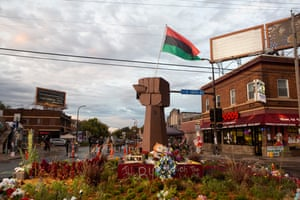 The memorial for George Floyd at at the intersection of 38th Street and Chicago Avenue in Minneapolis, Minnesota.
