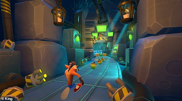 Crash inside the evil Dr Cortex's lab as he collects wumpa fruit - a colourful cross between an apple and a mango