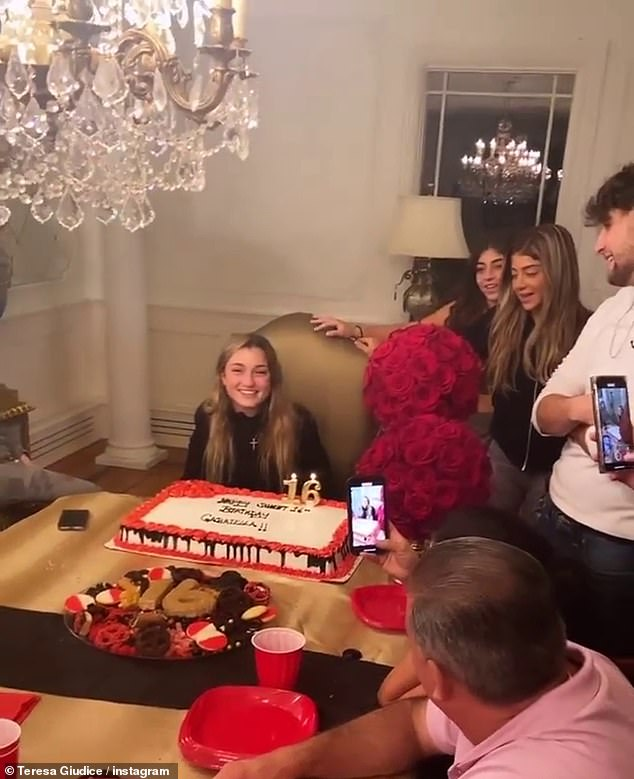 Before the city bash:There was also a family celebration inside the Giudice mansion in New Jersey