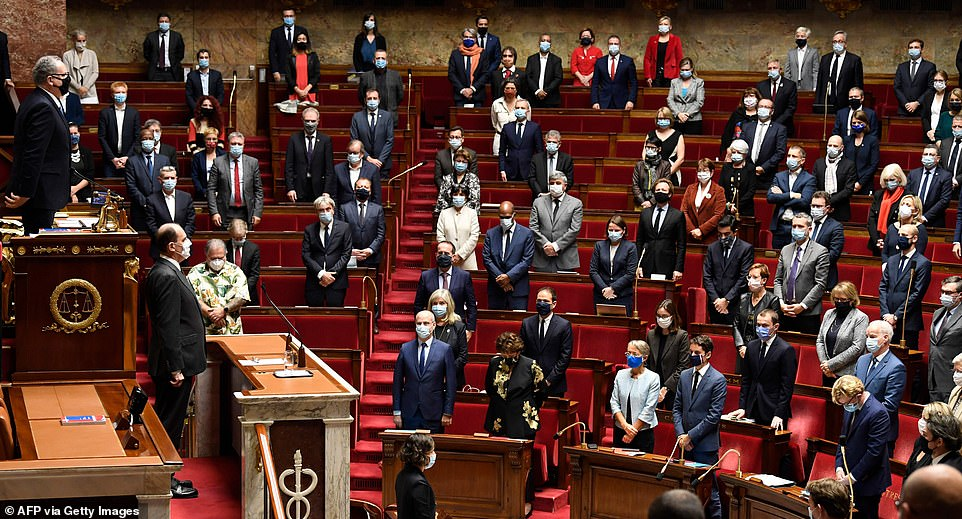 French politicians were taking part in a coronavirus lockdown debate when the news reached them - and held a minute of silence in the chamber (pictured)