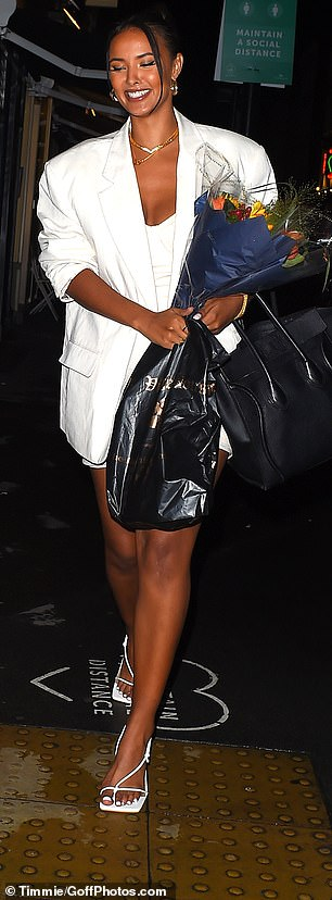 Tote-ally fabulous: She carried an iconic Celine bag on her arm as she prepared to make her way home