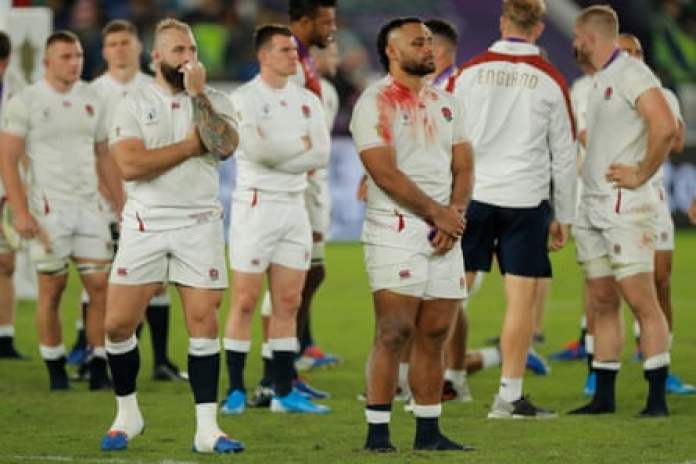 Joe Marler and Billy Vunipola, dejected after England's Rugby World Cup 2019 final defeat against South Africa.