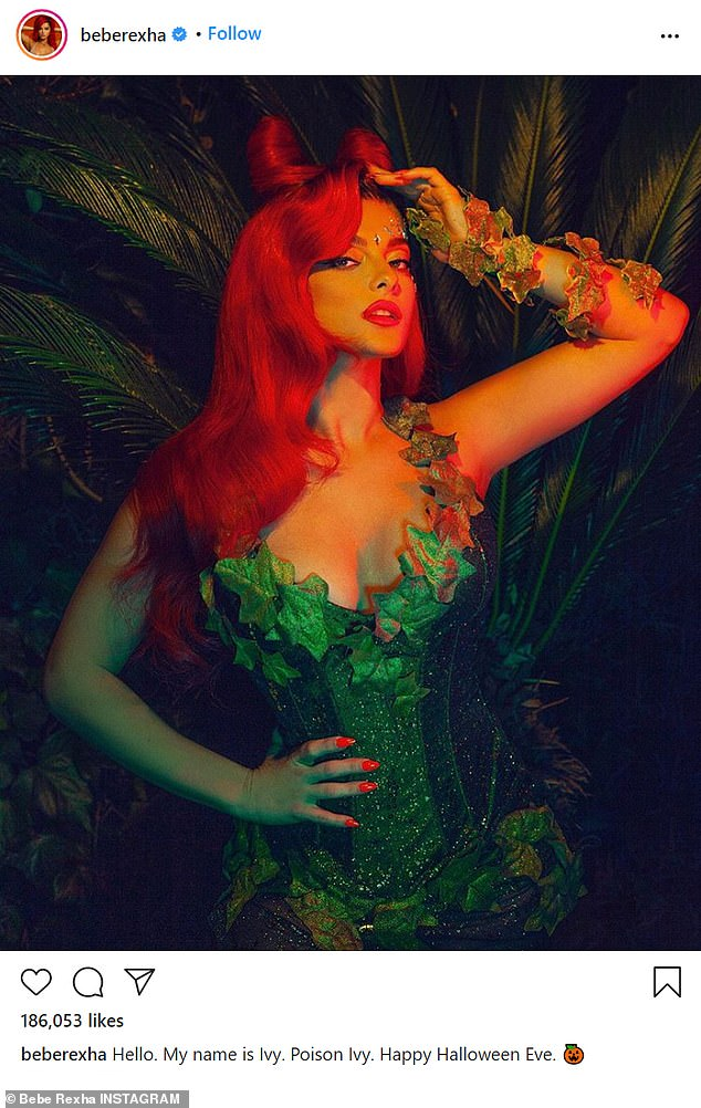 She did a great job! Bebe Rexha was dressed up as Poison Ivy; Uma Thurman played the character in 1997's Batman & Robin