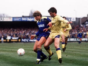 Glyn Hodges (left) in action for Wimbledon at Plough Lane as they overcome Everton 3-1 in a fifth round FA Cup tie in 1987. They played their last game at the old ground in May 1991.