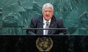 Samoa's PM Malielegaoi addresses the UN general assembly in 2019. He faces the most significant challenge to his 22-year-rule