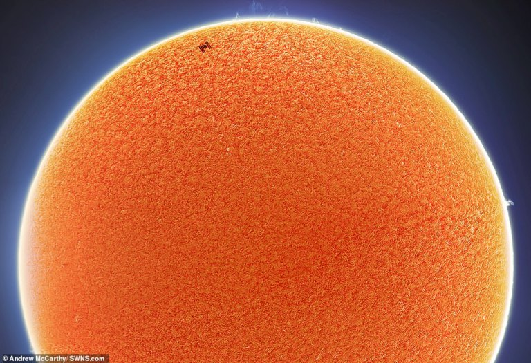 Amazing photos capture the moment the ISS passes in front of both the moon and the sun
