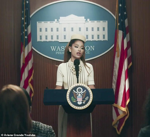 Taking a stand: Ariana Grande had some choice words to say about the absence of POC candidates in the 2020 election; seen here in the Positions music video