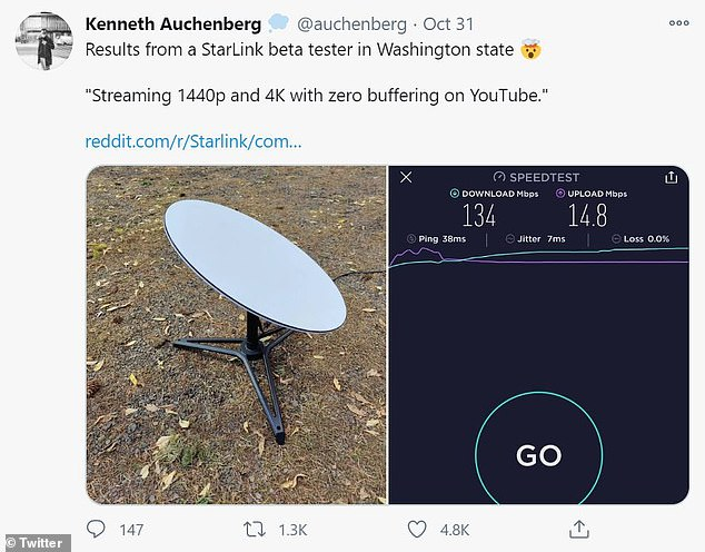 SpaceX has begun rolling out beta service of its Starlink internet to early adopters who reported internet speeds higher than 95 percent of the leading providers. One user found the space broadband is 'streaming 1440p and 4K with zero buffering