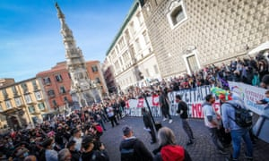 Culture industry workers protesting in Naples on Friday.