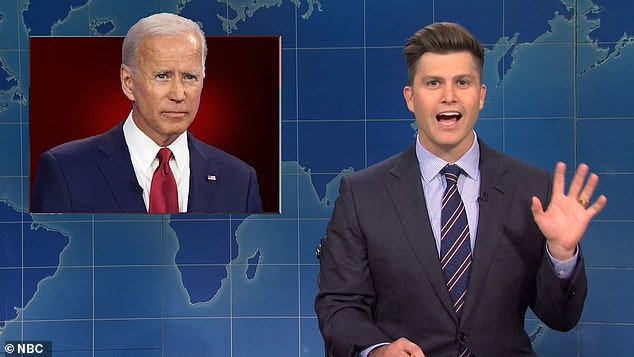 New bling: Colin Jost, 38, debuted his wedding ring on Saturday Night Live after tying the knot with Scarlett Johansson last weekend