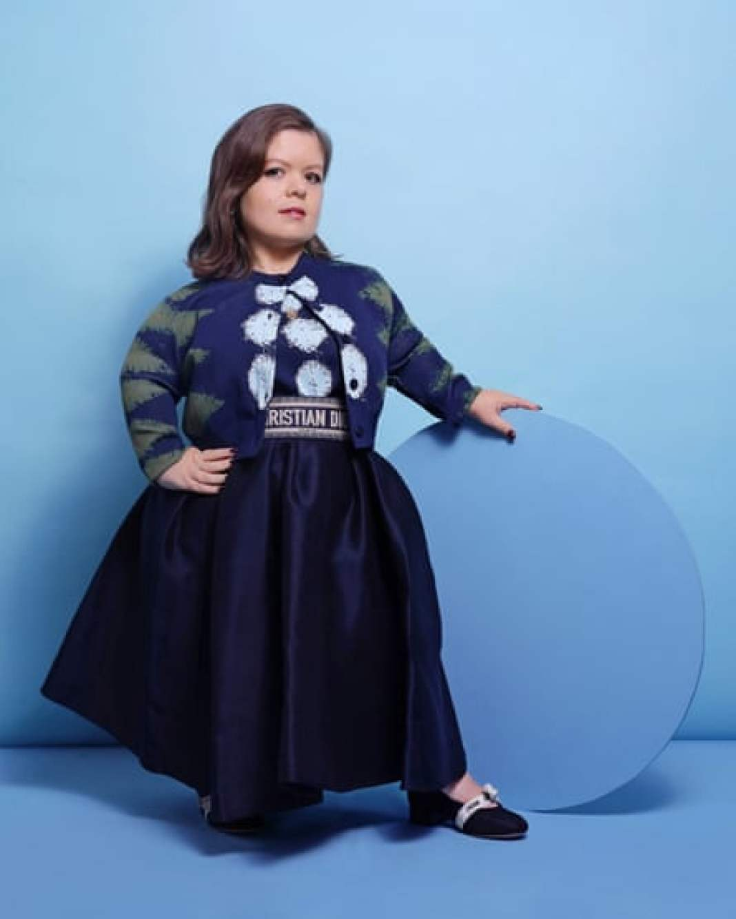 'I'm being me': Sinéad Burke wears dress, cardigan, skirt and belt all by Dior; necklace by Sorcha O'Raghallaigh; and earrings by MoMuse.