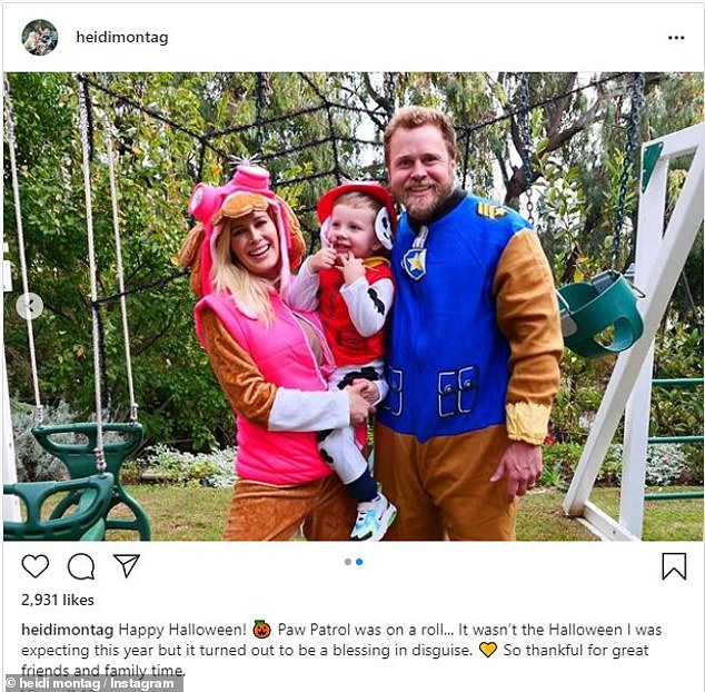 'Paw Patrol was on a roll': On Sunday, Heidi Montag and Spencer Pratt shared a couple of cute photos with their three-year-old son Gunner, showing the family dressed up for Halloween