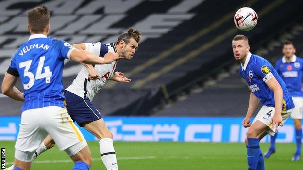 Gareth Bale scores for Tottenham against Brighton in the Premier League